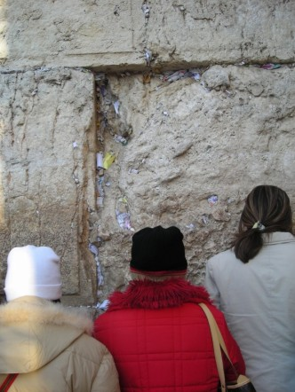 Women at the Western Wall in Jerusalem.